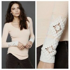 Free People Apricot Peach Crochet Cuff Thermal Top